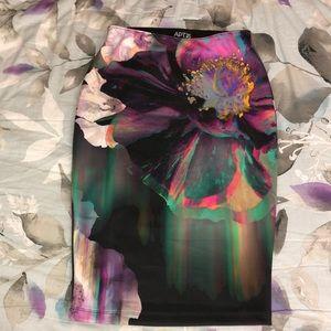 Floral watercolor Pencil skirt
